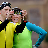 Randy Kinney and Kandy Jamison take a picture of themselves after completing the Tour de Kota on Friday afternoon at the University of Sioux Falls.