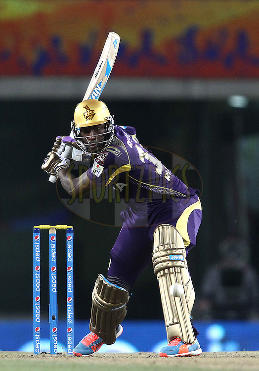 Andre Russell of the Kolkata Knight Riders looks to attack a delivery during match 21 of the Pepsi Indian Premier League Season 2014 between the Chennai Superkings and the Kolkata Knight Riders  held at the JSCA International Cricket Stadium, Ranch, India on the 2nd May  2014<br /> <br /> Photo by Shaun Roy / IPL / SPORTZPICS<br /> <br /> <br /> <br /> Image use subject to terms and conditions which can be found here:  http://sportzpics.photoshelter.com/gallery/Pepsi-IPL-Image-terms-and-conditions/G00004VW1IVJ.gB0/C0000TScjhBM6ikg