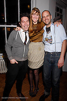 "Brian Wolk, Anne Koch and Claude Morais attend the opening of ""Lady"" by Douglas Friedman at the Ruffian Gallery on April 23, 2009 in New York City."