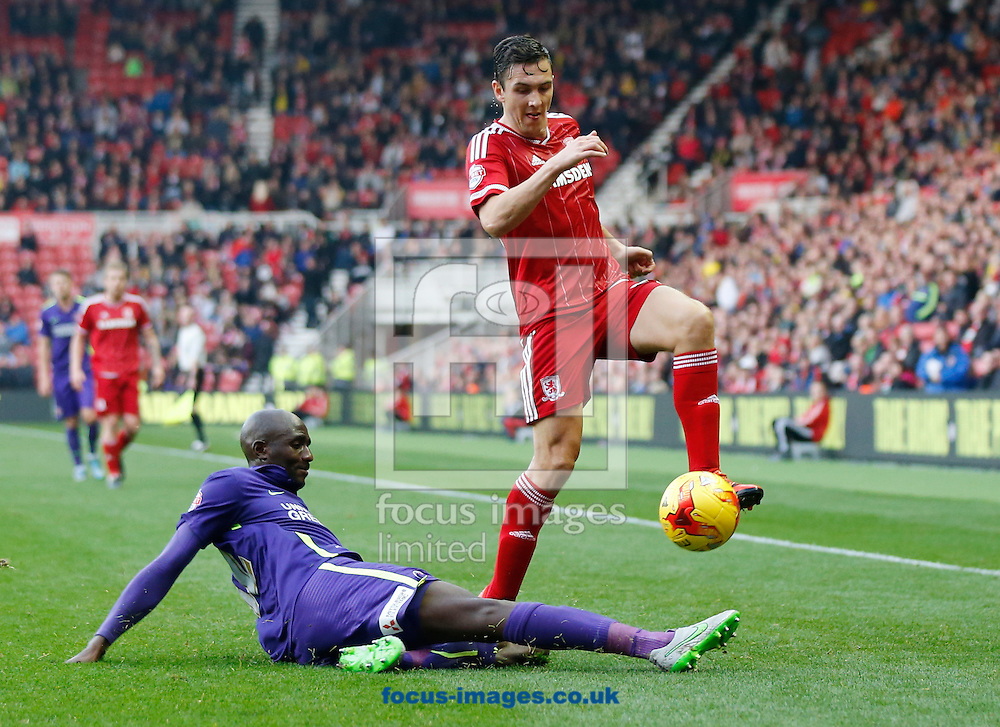 Stewart Downing (r) of Middlesbrough is beaten to the ball by Alou Diarra of Charlton Athletic during the Sky Bet Championship match at the Riverside Stadium, Middlesbrough<br /> Picture by Simon Moore/Focus Images Ltd 07807 671782<br /> 31/10/2015