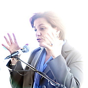 October 28, 2010 - Bronx, NY : School officials and city politicians gathered at the City University of New York's (CUNY) Lehman College campus to commemorate the progress in the construction of their new science building. City Councilwoman Christine Quinn speaks at the event.