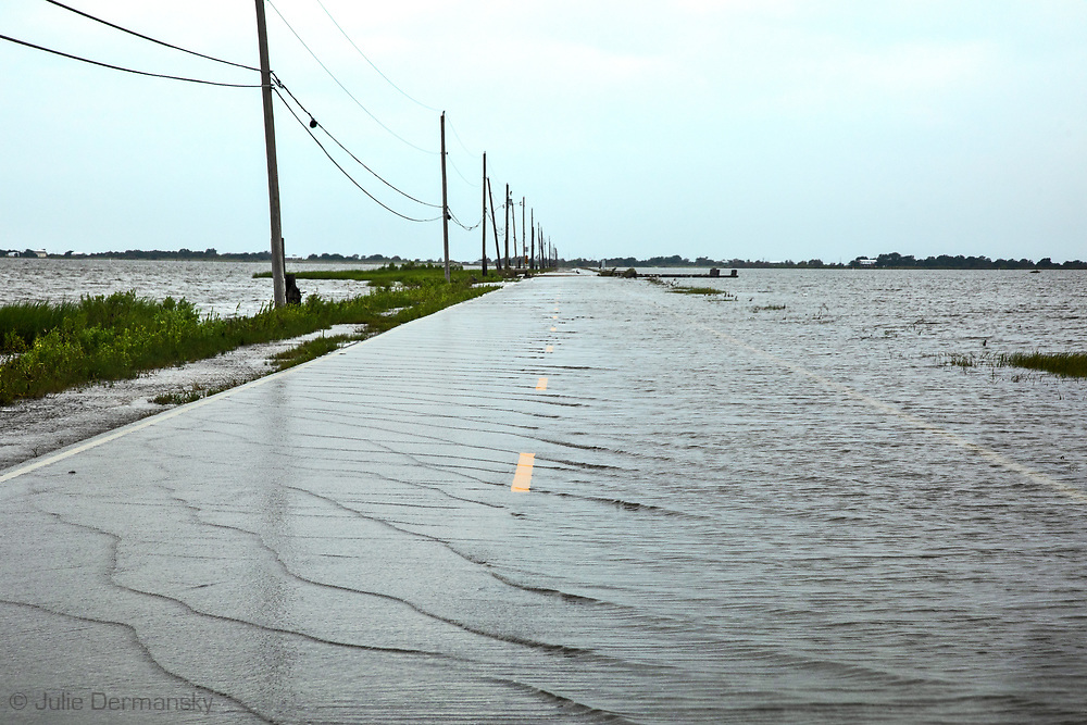 Island Road, the only road that leads to the Isle de Jean Charles in Louisiana's Terribonne Parish, flooded by Hurricane Barry. Two day's after the storm, standing water was still on the road.