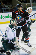 KELOWNA, CANADA - MARCH 15:  Carsen Twarynski #18 of the Kelowna Rockets, Carter Hart #70 of the Everett Silvertips at the Kelowna Rockets game on March 15, 2017 at Prospera Place in Kelowna, British Columbia, Canada.  (Photo By Cindy Rogers/Nyasa Photography,  *** Local Caption ***