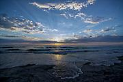 Sundown over the Pacific Ocean, Tory Pines Beach, San Diego California.