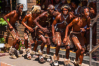 An African dance group performs outside the Sakhumzi Restaurant, Soweto (South Western townships), Johannesburg, South Africa.