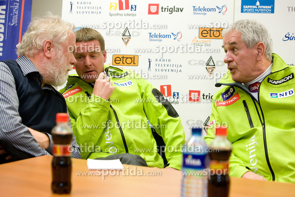 Jaro Kalan, Matjaz Sarabon and Anton Ribnikar at press conference of Slovenian Ski Federation a day after Men's Downhill of the Audi FIS Ski World Cup 2009/10 in Bormio, on December 30, 2009, in SZS, Ljubljana, Slovenia.  (Photo by Vid Ponikvar / Sportida)