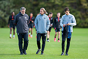 Manager Craig Levein (left), assistant coach Austin MacPhee (centre) and head of fitness, Tom Taylor (right) of Heart of Midlothian, make their way to the pitches for pre match training ahead of the visit of Livingston, at Oriam Sports Performance Centre, Riccarton, Edinburgh, Scotland on 20 September 2018.