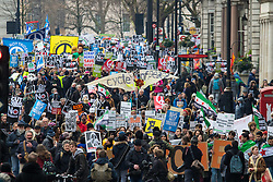 London, February 27th 2016. Placards and banners create a sea of dissent on Piccadilly during CND's march and rally opposing the UK's Trident nuclear weapons programme. <br /> &copy;Paul Davey<br /> FOR LICENCING CONTACT: Paul Davey +44 (0) 7966 016 296 paul@pauldaveycreative.co.uk