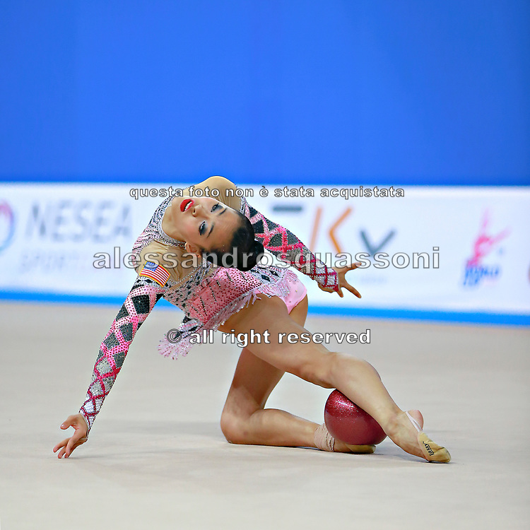"Lu Serena during ball routine at the International Tournament of rhythmic gymnastics ""Città di Pesaro"", 10 April, 2015. Serena born on April 30, 1998 in  Minneapolis, is a rhythmic gymnast of Usa.<br />
