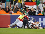June 23, 2010; Pretoria, SOUTH AFRICA; USA celebrates the winning goal against Algeria during Group C play in the 2010 World Cup at Loftus Versfeld Stadium.