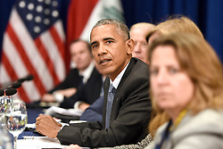 U.S. President Barack Obama attends a bilateral meeting with Prime Minister Haider al-Abadi of Iraq at the Lotte New York Palace Hotel in New York City, NY, USA, on September 19, 2016. Photo by Anthony Behar/Pool/ABACAPRESS.COM