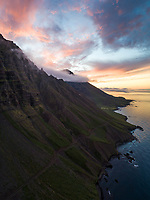 Sunset at Dalatangi, East fiords of Iceland.