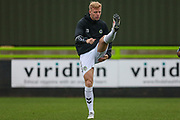 Forest Green Rovers Nathan McGinley(19) warming up during the EFL Trophy match between Forest Green Rovers and Cheltenham Town at the New Lawn, Forest Green, United Kingdom on 4 September 2018.