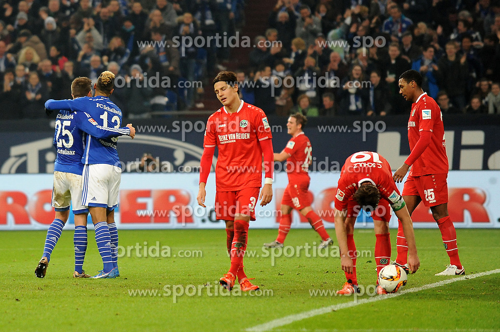 04.12.2015, Veltins Arena, Gelsenkirchen, GER, 1. FBL, Schalke 04 vs Hannover 96, 15. Runde, im Bild V.l.n.r. Miiko Albornoz, Christian Schulz und Marcelo ( alle Hannover 96 ) enttaeuscht waehrend Torschuetze Klaas Jan Huntelaar mit Eric Maxim Choupo Moting ( beide Schalke 04 ) ueber das 2 : 0 jubeln. // during the German Bundesliga 15th round match between Schalke 04 and Hannover 96 at the Veltins Arena in Gelsenkirchen, Germany on 2015/12/04. EXPA Pictures &copy; 2015, PhotoCredit: EXPA/ Eibner-Pressefoto/ Thienel<br /> <br /> *****ATTENTION - OUT of GER*****