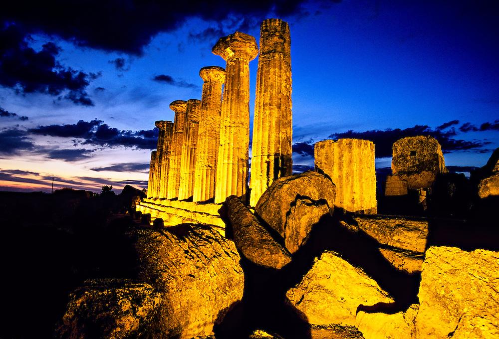 Temple of Hercules (Tempio di Ercole), Valley of the Temples (Valle di Templi), Agrigento, Sicily, Italy