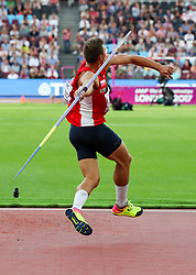 London, August 12 2017 . Adam Sebastian Helcelet, Czech Republic, in the men's decathlon javelin on day nine of the IAAF London 2017 world Championships at the London Stadium. © Paul Davey.