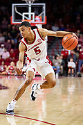 FAYETTEVILLE, AR - FEBRUARY 5:  Jalen Harris #5 of the Arkansas Razorbacks looks to drive to the basket during a game agains the Vanderbilt Commodores at Bud Walton Arena on February 5, 2019 in Fayetteville, Arkansas. The Razorbacks defeated the Commodores 69-66.  (Photo by Wesley Hitt/Getty Images) *** Local Caption *** Jalen Harris