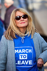 © Licensed to London News Pictures. 28/03/2019. Aylesbury, UK.  ESTHER McVEY MP in Aylesbury ahead of the penultimate day of the March For Leave before heading to Beaconsfield.  A few hundred people starting walking from Sunderland two weeks ago and the march finishes in London tomorrow (Friday). Photo credit: Cliff Hide/LNP