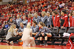 06 November 2015:  Bradley Braves during a time out at an NCAA women's volleyball match between the Bradley Braves and the Illinois State Redbirds at Redbird Arena in Normal IL (Photo by Alan Look)
