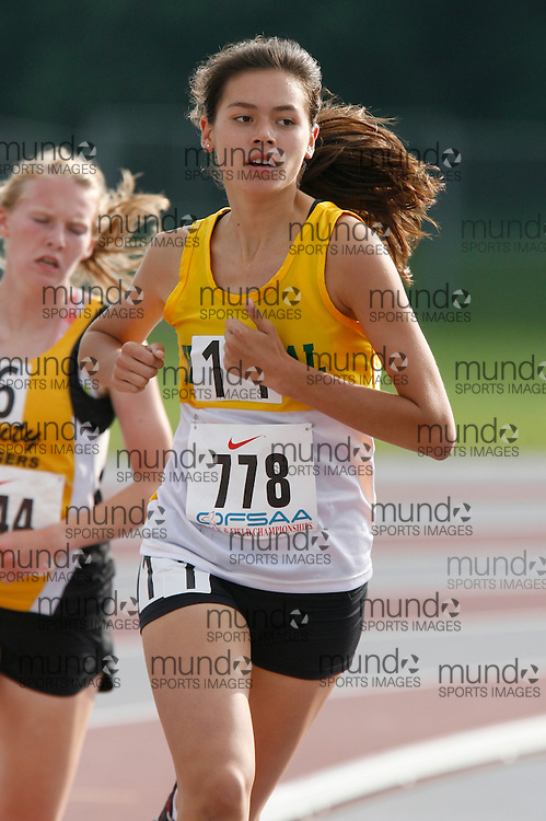 (London, Ontario}---03 June 2010) Natalie Biringer of Havergal College - Toronto competing in the 1500m heats at the 2010 OFSAA Ontario High School Track and Field Championships. Photograph copyright Dave Chidley / Mundo Sport Images, 2010.