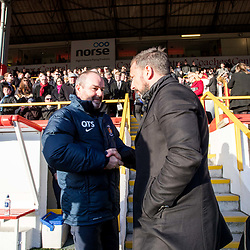 Aberdeen v Kilmarnock, Scottish Premiership, 27th January 2018<br /> <br /> Aberdeen v Kilmarnock, Scottish Premiership, 27th January 2018 &copy; Scott Cameron Baxter | SportPix.org.uk<br /> <br /> Derek McInnes, Aberdeen FC manager takes his place in the dugout, shakes the hand of Kilmarnock Manager Steve Clarke (L)