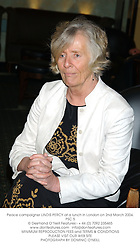 Peace campaigner LINDIS PERCY at a lunch in London on 2nd March 2004.PSC 5
