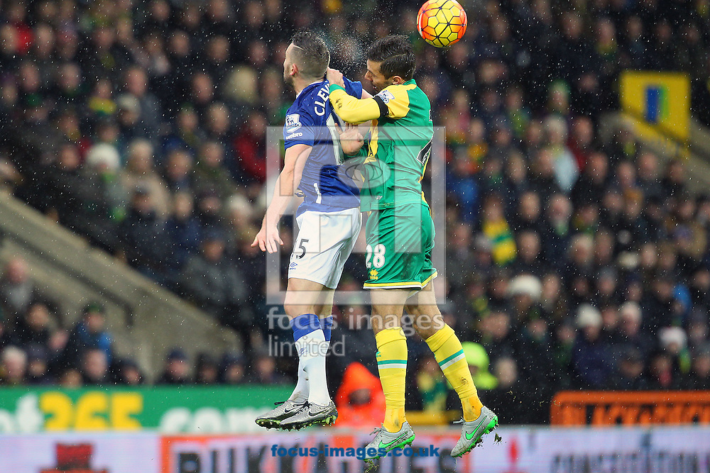Tom Cleverley of Everton and Gary O&rsquo;Neil of Norwich in action during the Barclays Premier League match at Carrow Road, Norwich<br /> Picture by Paul Chesterton/Focus Images Ltd +44 7904 640267<br /> 12/12/2015
