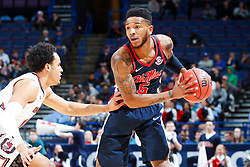 ST. LOUIS, Mo., -- Game 02 of the 2018 SEC Men's Basketball Tournament played between Ole Miss and South Carolina, Wednesday, March 07, 2018 at the Scott Trade Center in ST. LOUIS. Ole Miss guard Markel Crawford.