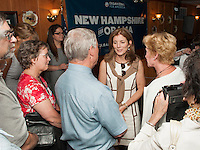 Caroline Kennedy talks with Patrick and Jane Wood of Laconia after addressing a large crowd gathered at Hart's Turkey Farm in Meredith Thursday afternoon.  (Karen Bobotas/for the Laconia Daily Sun)