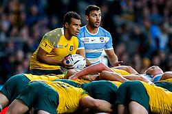 Australia Scrum-Half Will Genia and Argentina Scrum-Half Martin Landajo - Mandatory byline: Rogan Thomson/JMP - 07966 386802 - 25/10/2015 - RUGBY UNION - Twickenham Stadium - London, England - Argentina v Australia - Rugby World Cup 2015 Semi Finals.
