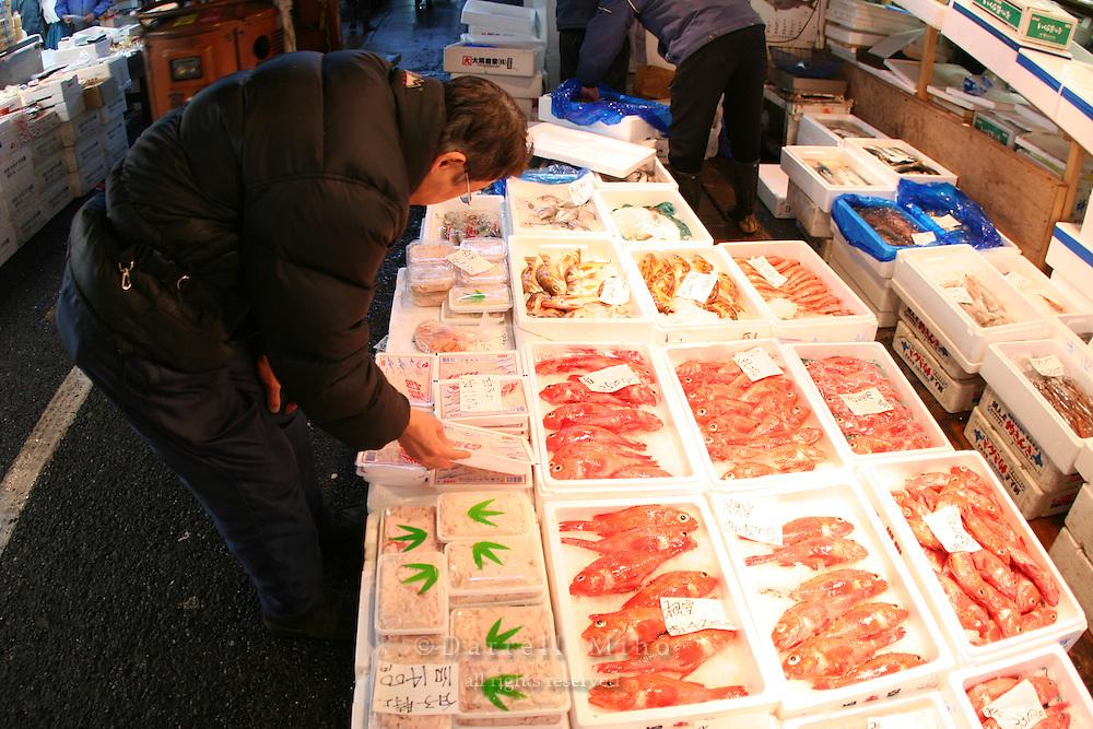 Mar 4, 2006; Tokyo, JPN; Tsukiji.Seafood on sale at the Tsukiji Fish Market...Photo credit: Darrell Miho
