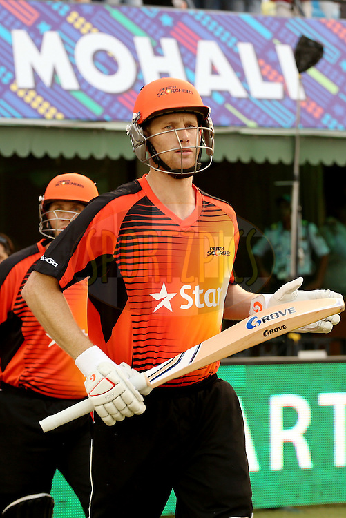 Opening batsmen for the Perth Scorchers, Adam Voges and Craig Simmons, walking out onto the field during match 4 of the Oppo Champions League Twenty20 between the Dolphins and the Perth Scorchers held at the Punjab Cricket Association Stadium, Mohali, India on the 20th September 2014. Photo by:  Jacques Rossouw / Sportzpics/ CLT20<br /> <br /> <br /> Image use is subject to the terms and conditions as laid out by the BCCI/ CLT20.  The terms and conditions can be downloaded here:<br /> <br /> http://sportzpics.photoshelter.com/gallery/CLT20-Image-Terms-and-Conditions-2014/G0000IfNJn535VPU/C0000QhhKadWcjYs