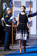 Queen Letizia of Spain leave the 'Princesa de Asturias Awards 2015 (Princess of Asturias awards)' ceremony at the Campoamor Theater on October 23, 2015 in Oviedo, Spain.