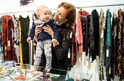 Urska Draz with her son Elij, fashion designer and owner of Pletenine Draž, on May 23, 2017 in Gornji trg, Ljubljana, Slovenia. Photo by Vid Ponikvar / Sportida