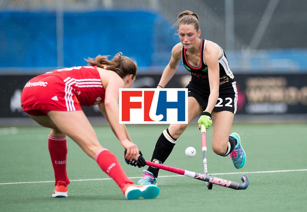AUCKLAND - Sentinel Hockey World League final women<br /> Match id 10293<br /> 03 England v Germany <br /> Foto: Cecile Pieper defending.<br /> WORLDSPORTPICS COPYRIGHT FRANK UIJLENBROEK