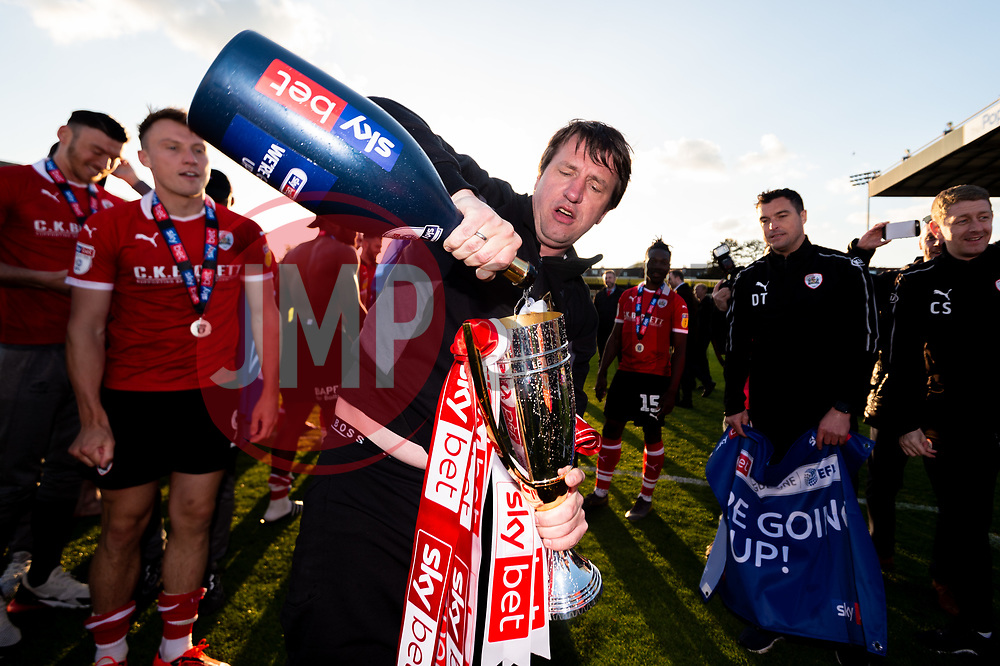 Barnsley manager Daniel Stendel celebrates after the final whistle of the match after Barnsley secure automatic promotion to the Sky Bet Championship - Mandatory by-line: Ryan Hiscott/JMP - 04/05/2019 - FOOTBALL - Memorial Stadium - Bristol, England - Bristol Rovers v Barnsley - Sky Bet League One