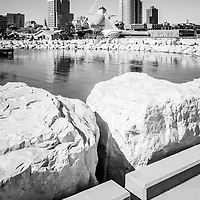 Milwaukee skyline black and white picture with University Club Tower, Northwestern Mutual Tower, and Milwaukee Art Museum.