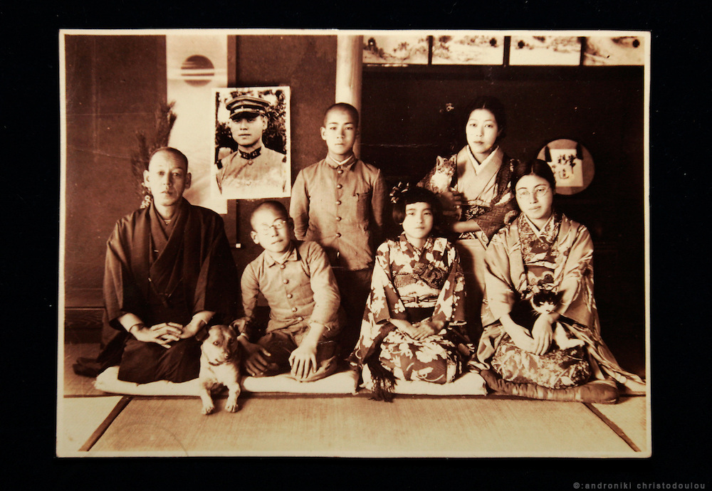 Dr HIROSHI MARUYA. Hiroshima A-Bomb survivor. Honorary doctor of Kyoritsu Hospital and poet. COPY of an old family photo. Dr Maruya is the boy with hte glasses and above him, the picture of the brother who was at the war as a solder.