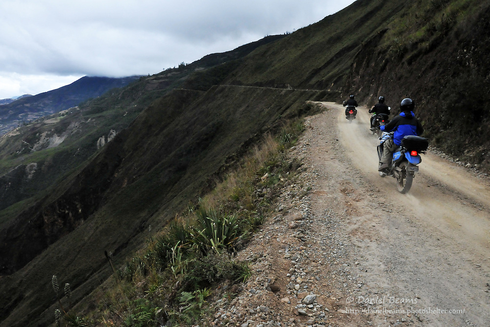 Motorcyclists on the road near Sorata, Bolivia