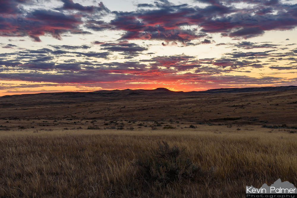 The sun sets over the hills and prairie of Grasslands National Park. This was taken from the Rock Creek trail in the East Block.