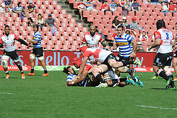 Johannesburg. 15-09-18 Emirates Airline Park. Rugby Currie Cup.  Lions vs Western Province(WP). WP Dillyn Leyds is tackled by two Lionsplayers during the first half. <br /> Picture: Karen Sandison/African News Agency(ANA)