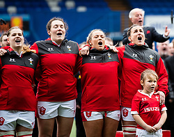 Wales Women sing the anthem<br /> <br /> Photographer Simon King/Replay Images<br /> <br /> Six Nations Round 1 - Wales Women v Italy Women - Saturday 2nd February 2020 - Cardiff Arms Park - Cardiff<br /> <br /> World Copyright © Replay Images . All rights reserved. info@replayimages.co.uk - http://replayimages.co.uk