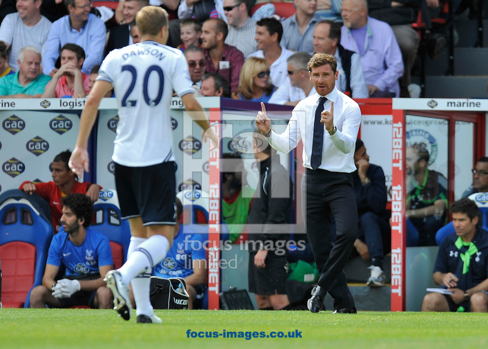 Picture by Alan Stanford/Focus Images Ltd +44 7915 056117<br />18/08/2013<br />Head coach Andre Villas-Boas of Tottenham Hotspur gives instructions to Michael Dawson during the Barclays Premier League match at Selhurst Park, London.