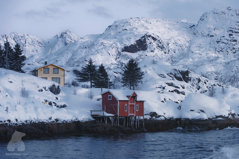 A leisurely Sunday boat ride around Andøya reveals the simple splendor of the Lofoten archipelago in winter. Here, red fishing cabins and colorful houses pepper the snow-covered coast, simply waiting for the return of warmer temperatures and the days of fun that come with Spring and Summer's midnight Sun. This part of northern Norway is amazingly beautiful and incredibly serene at this time of the year.