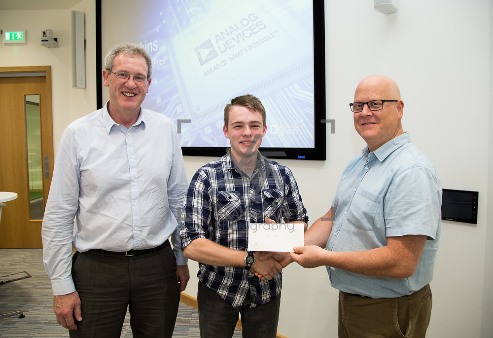 31.05.2017      <br /> University of Limerick Analog Devices Robbie McAdam Awards.<br /> Robbie McAdam Award recipient Oisin Watkins, 2nd year with  with Dr. John Nelson, Head of The Electronic &amp; Computer Engineering (E&amp;CE) Department,UL and Mike Keaveney, ADI Fellow Analog Devices. Picture: Alan Place.