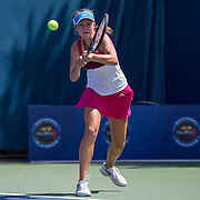 August 16, 2014, New Haven, CT:<br /> Michaela Gordon hits a backhand during the 2014 US Open National Playoffs Women's final match against Caitlin Whoriskey on day four of the 2014 Connecticut Open at the Yale University Tennis Center in New Haven, Connecticut Monday, August 18, 2014.<br /> (Photo by Billie Weiss/Connecticut Open)