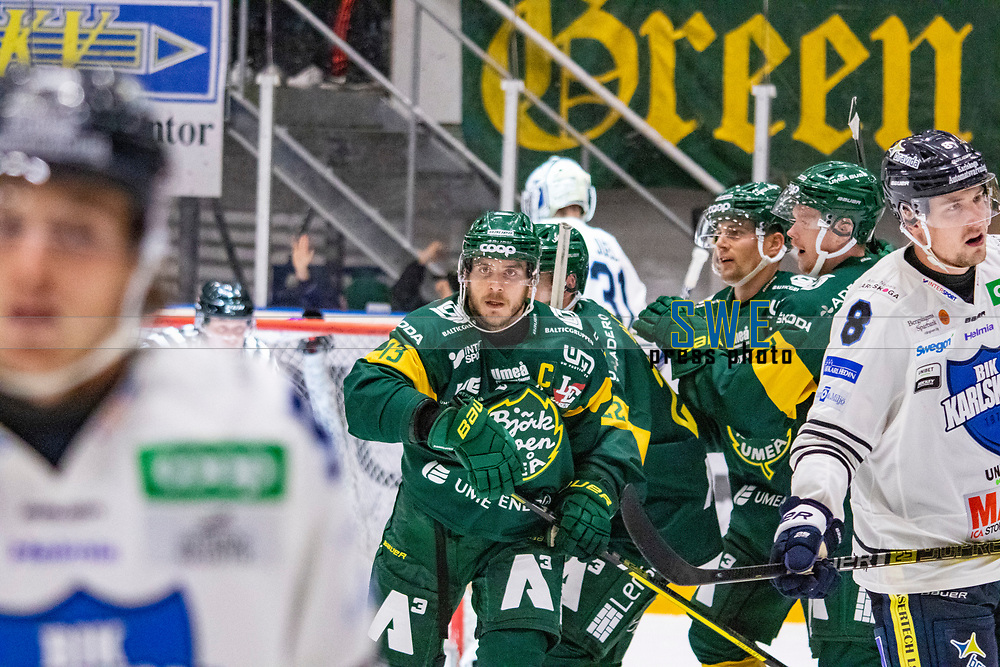 2019-10-09 | Umeå, Sweden:  Björklöven 13 Fredric Andersson scores 6-3 during the game  between Björklöven and Karlskoga at A3 Arena ( Photo by: Michael Lundström | Swe Press Photo )<br /> <br /> Keywords: Umeå, Hockey, HockeyAllsvenskan, A3 Arena, Björklöven, Karlskoga, bk191009