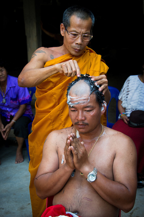 Kajohnsak Deeseang becomes a Buddhist monk in Nakhon Nayok, Thailand.