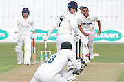 WICKET Liam Livingstone edges Ben Mike to Harry Swindells during the Specsavers County Champ Div 2 match between Leicestershire County Cricket Club and Lancashire County Cricket Club at the Fischer County Ground, Grace Road, Leicester, United Kingdom on 25 September 2019.
