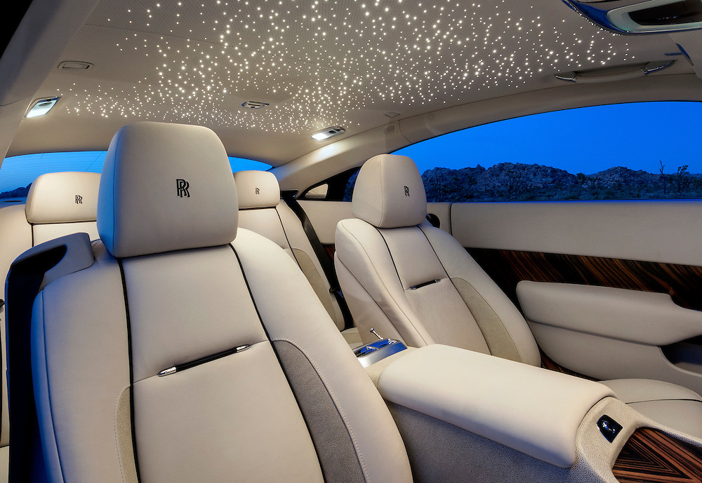 2015 Rolls Royce Wraith, Salamanca Blue.  Photographed in Joshua Tree, CA. Interior headliner with 1,300 fiber optic lights.